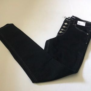 High Waisted Black Button Fly Jean Leggings